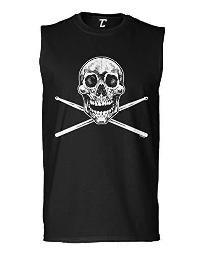 Tcombo Skull with Crossed Drumsticks - Drummer Men's Sleeveless Shirt (Black, Large)