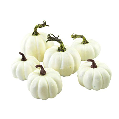 FightingFly 6 Pack Mini White Artificial Pumpkins, Artificial Realistic Fall Harvest Mini Pumpkins for Halloween Home Kitchen Decoration for $<!--$14.99-->
