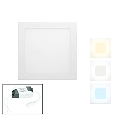 ECD Germany 1 x Ultraslim Thin LED Panel Built-in Projector 18W 22 x 22 cm SMD 2835 Warm White 3000K 220-240 V approx. 1123 Lumens Recessed Ceiling Light Rectangular