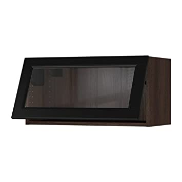 Ikea Horizontal Wall Cabinetglass Door Brown Laxarby Black Brown
