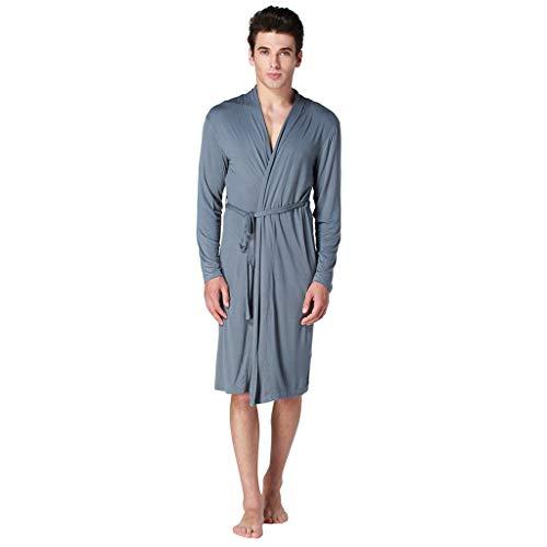- TUSANG Men Sleepwear Summer Long-Sleeved Home Wear Thin Men's Pajamas Home Service Loose Fit Comfy Wear(D-Blue,US-12/CN-2XL)