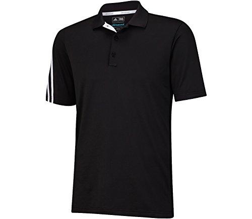 (adidas Golf Men's Climacool 3 Stripes Polo Shirt, Black/White/Vista Grey, Medium)