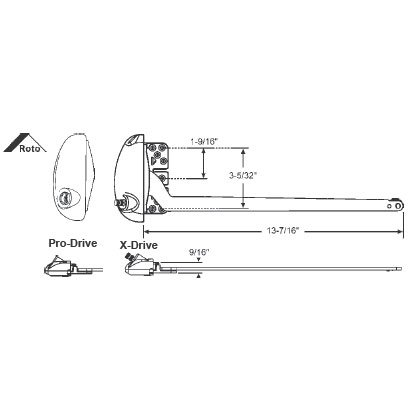 STB Single Arm Operator, Left Hand, Roto Pro-Drive, White, 13-1/2'' Arm by TechnologyLK