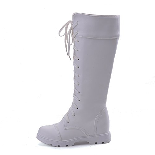 AgooLar Damen Ziehen auf Schließen Zehe Hoher Absatz PU Hoch-Spitze Stiefel, Weiß, 39