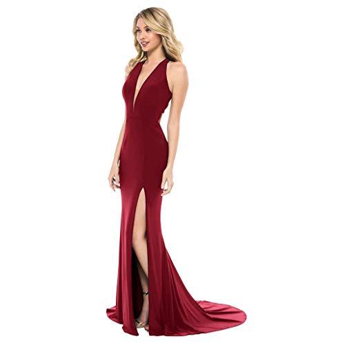 AgrinTol Women's Summer Sexy Dress Sleeveless V-Neck Slit Up The Side Floor-Length Dress (XL, Wine)