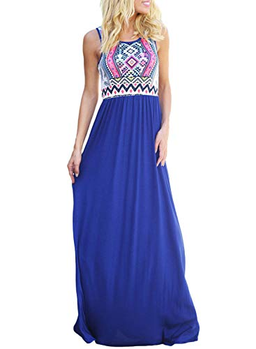 Asvivid Women's Summer Bohemian Retro Geometry Sleeveless Maxi Casual Dress X-Large Blue