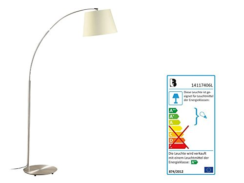 Lámpara LED de pie Lámpara Pantalla Color Crema: Amazon.es ...