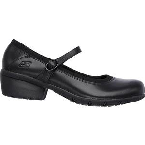 Skechers for Work Women's Toler Slip Resistant Shoe, Black Leather, 5 B(M) US by Skechers