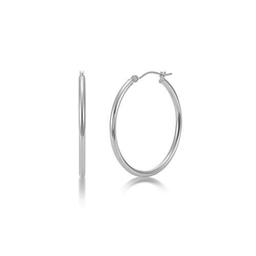 High Polished 14k White Gold 2mm x 25mm Click Top Tube Hoop Earrings - By Kezef Creations