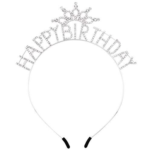 Rosemarie Collections Women's Rhinestone Crown with Happy Birthday Tiara Headband
