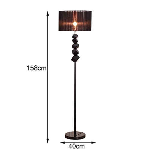 YWLDD Floor Lamps Modern Black Crystal Floor lamp, Marble Chassis, Black Cylindrical lampshade, Foot Switch, Simple Modern Vertical Floor lamp