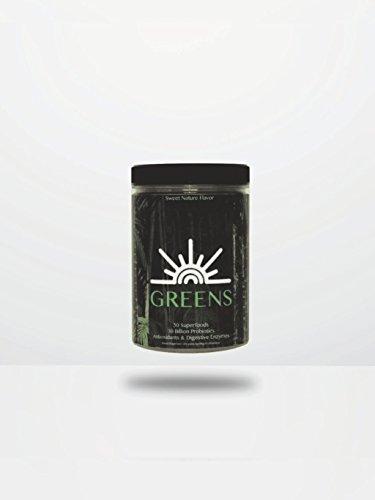 Green Superfood Powder, Super Greens Drink Mix, Greens Supplement, Non Gmo Gluten Free with Chlorella Sea Kelp Goji Berry Herbal Extracts & 30 Billion Probiotics, Helio Greens! (28 servings,263g) by Helio LLC