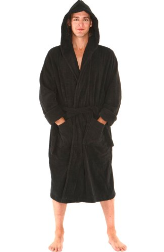Alexander Del Rossa Mens Turkish Terry Cloth Robe, Thick Hooded Bathrobe, 3XL 4XL Black (A0105BLK4X)