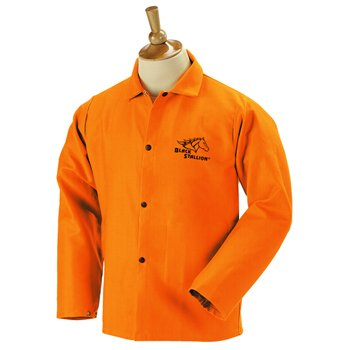 Black Stallion FO9-30C 30' 9oz. Orange FR Cotton Welding Jacket, Mediu