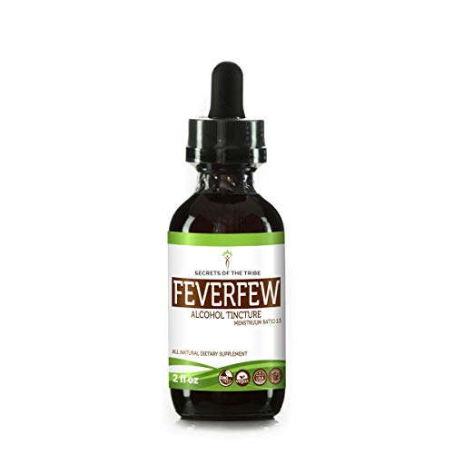 Feverfew Alcohol Liquid Extract, Organic Feverfew (Tanacetum parthenium) Dried Herb Tincture Supplement (2 FL OZ) ()