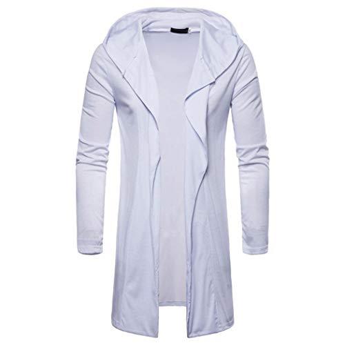 Realdo Mens Long Sweatshirt, Casual Autumn Winter Solid Slim Trench Coat Jacket Cardigan Long Sleeve Outwear(Large,White)