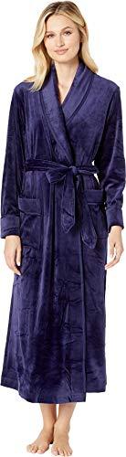 (Carole Hochman Women's Luxe Velour Long WRAP Robe, Navy)