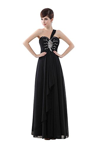 Abendgarderobe Party Emily Beauty One Kleid Up Schwarz Shoulder lang Lace qx68Bwf
