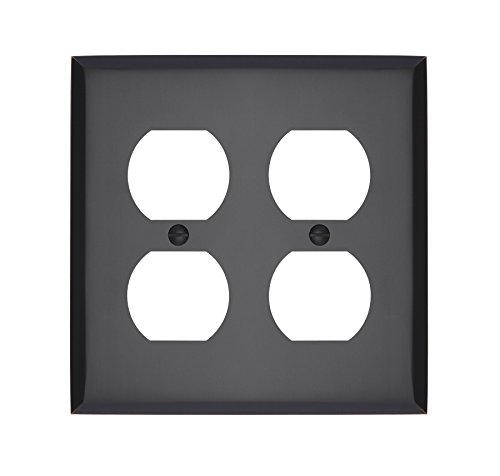 - MAYKKE Graham Double Duplex Outlet Cover Electrical Socket Solid Brass Wall Plate Switch Cover 5 Color Finishes to Choose from, Oil-Rubbed Bronze, ALA1000204