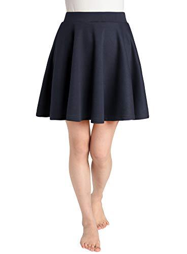 JustinCostume Women's Skater Skirt Flared Circle Skirt 2X Navy -
