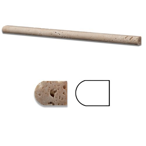 Ivory Travertine Honed 1/2 X 12 Pencil Liner Trim Molding - Standard Quality - BOX of 15 PCS