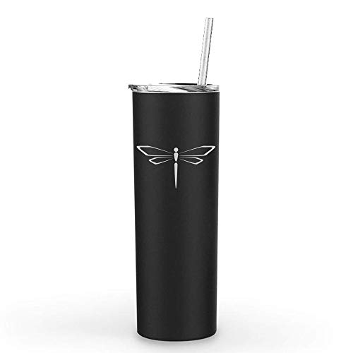 20 oz Skinny Tall Tumbler Stainless Steel Vacuum Insulated Travel Mug With Straw Dragonfly - Travel Dragonfly Mug