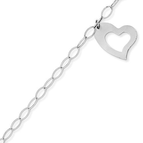 14k Oval Charm Bracelet (14k Gold Oval Link with Heart Charm Bracelet with Spring Ring (3.9mm) - White-Gold, 7.25 in)