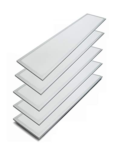 Canopus LED Panel Super Bright, Ultra Thin, Glare-Free, Recessed Ceiling Panel Down with Anodized White Frame 5000K 1x4 ft 40W (Pack of 5)