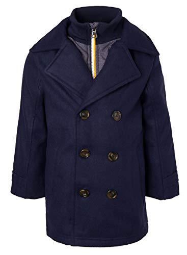 Sportoli Boys Classic Wool Look Lined Winter Vestee Dress Pea Coat Peacoat Jacket - Navy Vestee (Size 8)