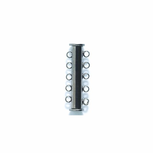 (Shipwreck Beads Electroplated Brass Slide Magnetic 5-Strand Clasps, 29 mm, Gunmetal, Set of 3)