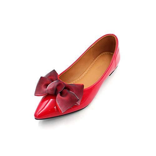 FLYRCX La Primavera y el otoño señalaron el Arco Solos Zapatos Charol Zapatos Planos Rojos señoras Zapatos de Trabajo, 37 UE 35 EU