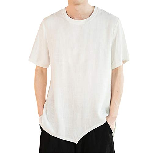 WYTong Men's Casual Slim Fit Shirts Pure Color Short Sleeve Fashion T-Shirts Summer Fashion Short Sleeve Top(White,XXXXL)