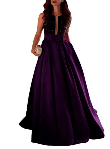 Unions Women Beaded Satin Prom Party Gown A Line Scoop Neck Formal Backless Evening Dress Purple