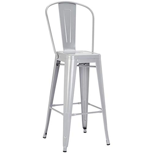 Pioneer Square Harris 30-Inch Bar-Height Metal Stool with Back Rest, Set of 4, Silver Cloud (Inch 30 Stool)