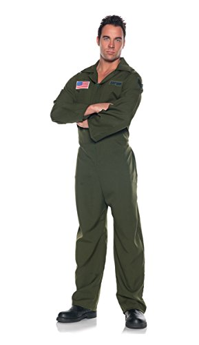 [Men's Air Force Costume - Jumpsuit, Dark Green, One Size] (Army Men Halloween Costumes)