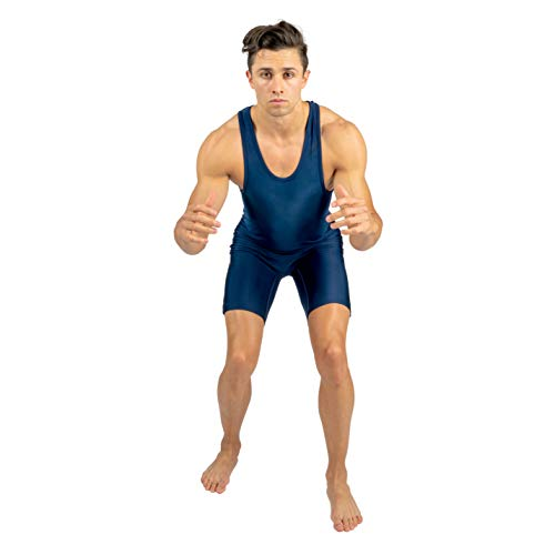 Navy Blue Lycra Wrestling Singlet, by 4-Time, Size 3XL ()