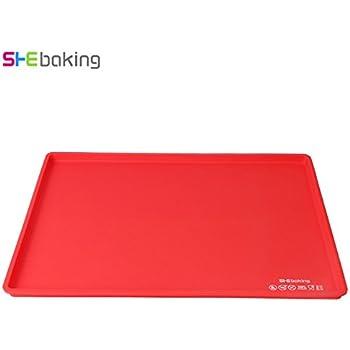 1 Pc Silicone Non Stick Swiss Roll Roulade Baking Cake Sheet Rectangular Shape Pizza Baking Pan Mat Cake Roll Maker (Red)