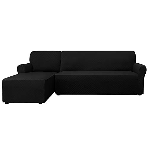 CHUN YI 2 Pieces Rhombus Jacquard Polyester L Shape Sectional Sofa Cover Stretch Fabric L-Shaped Sectional Couch Covers Dust-Proof Sofa Slipcover Furniture Protector (Left Chaise, Black) ()