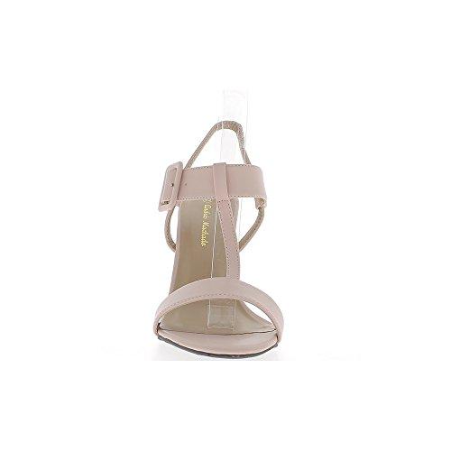 Sandales grande taille roses mat à talon de 12 cm larges brides