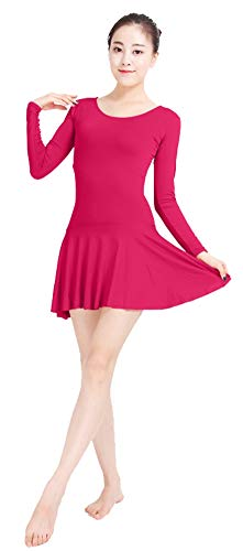 ONCEFIRST Women's Leotard Lycra Long Sleeve Dance Dress Costume Zentai Bodysuit Fuchsia S