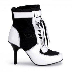 Pleaser Women's Referee Blk Canvas/wht Pu Sport Boot, 3 3/4 Inch Black Canvas-white Pu 9]()