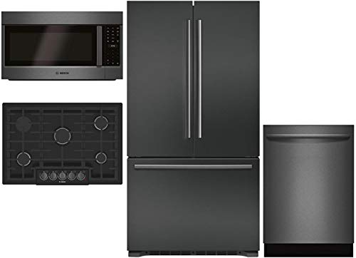 "Bosch 4 Piece Kitchen Package with B21CT80SNB 36""French Door Refrigerator, NGM8046UC 30"" Gas Cooktop, HBL8742UC 30"" Electric Oven