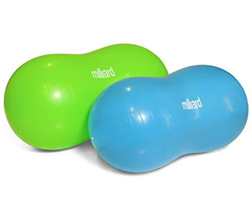 Milliard Peanut Ball Variety Pack - Approximate Sizes: Green 39x20 inch (100x50cm) and Blue 31x15 inch (80x40cm) Physio Roll Bean Products Natural Rubber