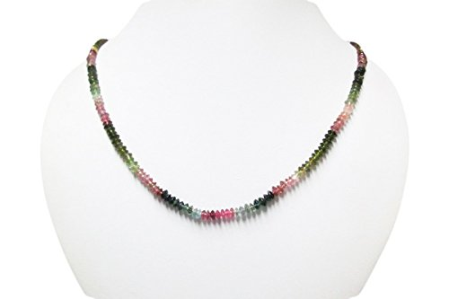 Watermelon Stone Necklace (Watermelon Tourmaline Saucer Beads Necklace Strand with 925 Sterling Silver findings 16