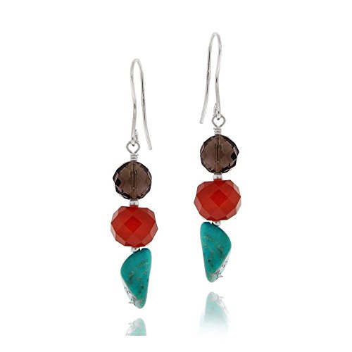 Sterling Silver Multi Nuggets And Lab Simulated Turquoise Cluster Dangle ()