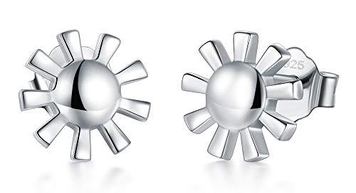 (925 Sterling Silver Stud Earrings, BoRuo Sun Stud Earrings)