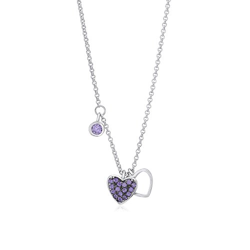 Sterling Silver 925 Double Heart Charm Necklace Pendant with Dangle Accent CZ Purple on Rolo Chain 16