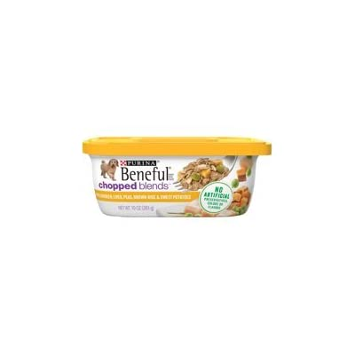 6 Tubs of Purina Beneful Chopped Blends with Chicken, Liver, Peas, Brown Rice & Sweet Potatoes Adult Wet Dog Food - 10 oz. ea