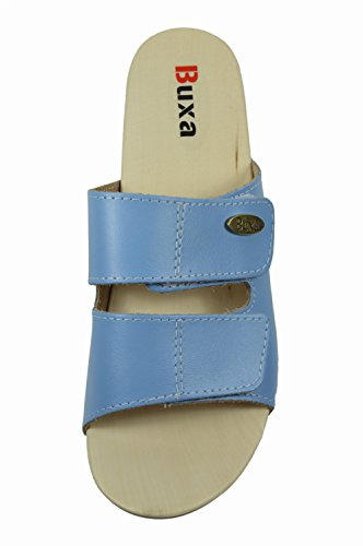 Buxa Damen Leder Sandalen / Clogs mit Doppelt Klettband Riemen und Gummi / Holz Sohle Hellblau