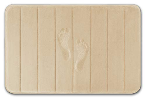 Yimobra Memory Foam Bath Mat Large Size 31.5 by 19.8 Inches, Soft and Comfortable, Maximum Absorbent, Non-Slip, Thick, Machine Wash, Easier to Dry for Bathroom Floor Rug, Beige (Washing Machine Water Backing Up Into Kitchen Sink)